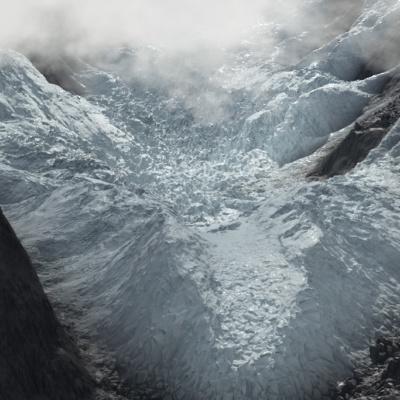glacier scene rendered in Terragen