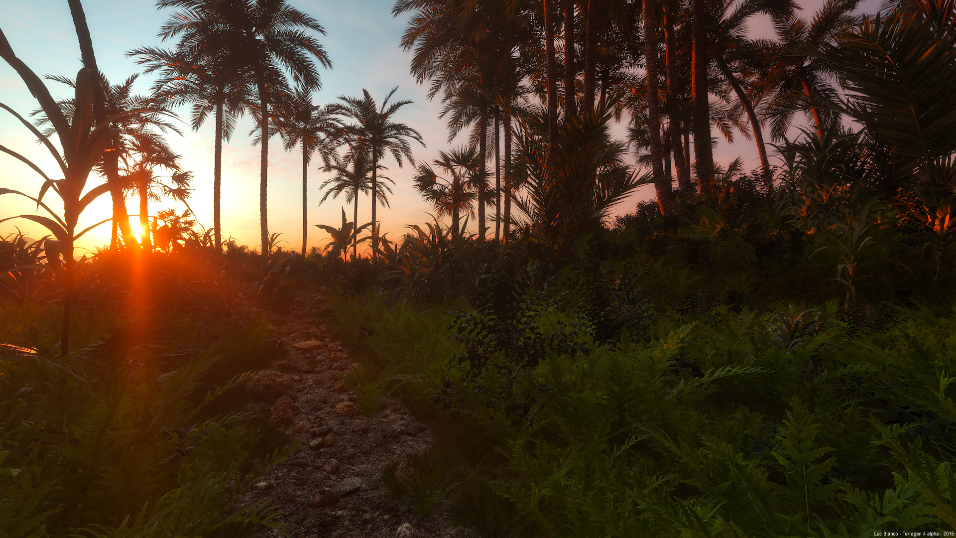 Tropical XFrog plants - scene rendered in Terragen 4 alpha
