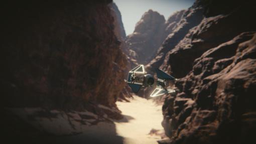 Tie interceptor free 3D object model rendered in Blender using HDRi Terragen background picture