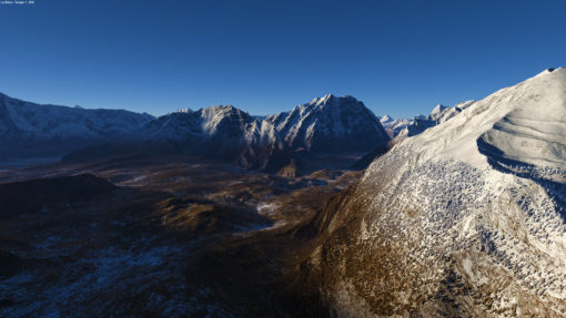 Mountain range: a mountain scene with Terragen 4, from valley to high mountains with detailed snow